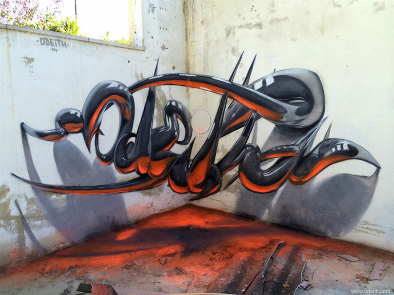 Graffittis en 3D que parecen flotar en el aire